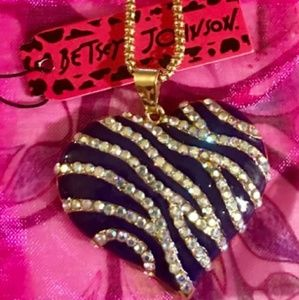 Betsey Johnson Purple Rhinestone Zebra Heart